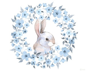rabbit, bunny, and blue image