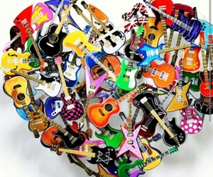 heart, guitar, and music image