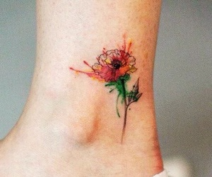 color, flower, and tattoo image