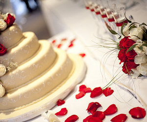 cake, wedding, and rose image