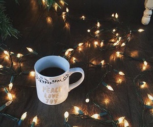 winter, coffee, and lights image