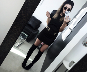 fashion blogger, over the knee boots, and ootd image