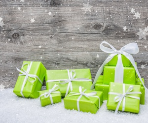 bow, gift, and snow image