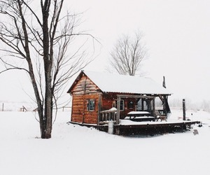 house, snow, and trees image