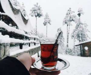 winter, snow, and tea image