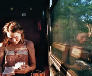 girl, book, and train image