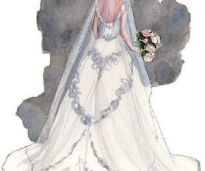 art, bride, and sketch image