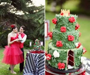 red, wedding, and cake image