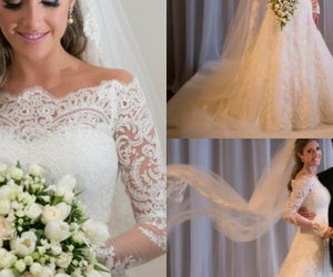 bridal gown, fashion dress, and lace wedding dress image
