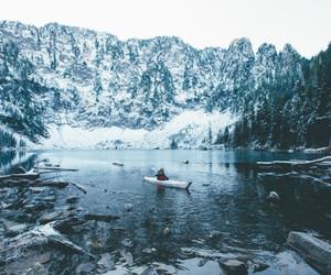 lake, snow, and travel image