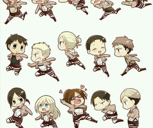 attack on titan, shingeki no kyojin, and chibi image