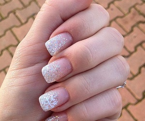 french, glitter, and nails image