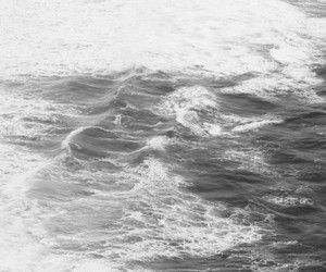 water, black and white, and sea image