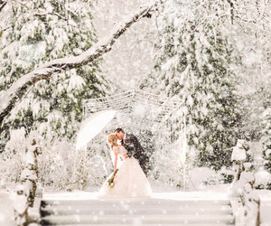 couple, snow, and white image