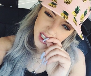 cap, girl, and pineapple image