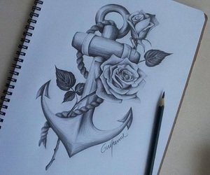 drawing, anchor, and rose image