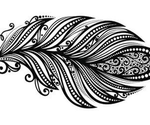 black, feather, and henna image