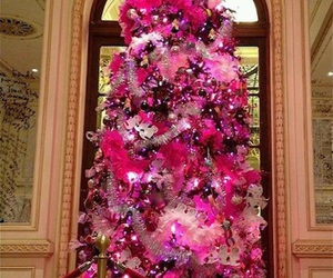 pink, christmas, and christmas tree image