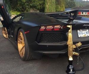 car, gold, and shisha image