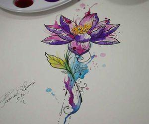 aquarela, flower, and tattoo image