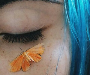 blue, butterfly, and fashion image