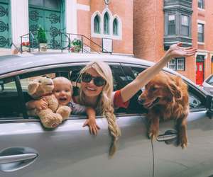 dog, car, and family image