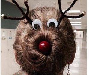 hair, christmas, and reindeer image