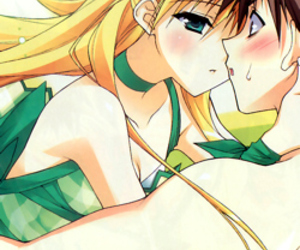 anime, blonde, and green image