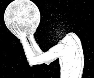 moon, art, and grunge image