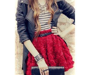 outfit, skirt, and red image