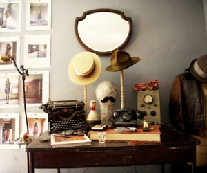 hats, moustache, and typewriter image
