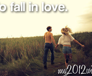 boy and girl, fall, and fall in love image