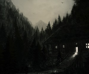 forest, dark, and house image