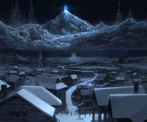 sky, winter, and town image