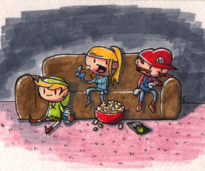 couch, drawing, and fun image