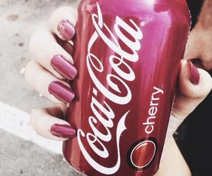cherry, coca cola, and coke image
