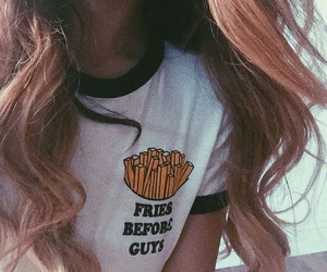 fries, girl, and guys image