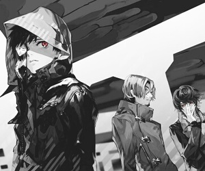 anime, monochrome, and official image