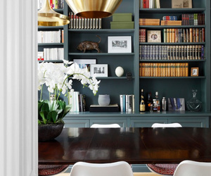 book shelf, interior, and lamp image