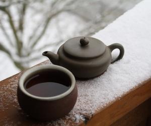 snow, tea, and winter image