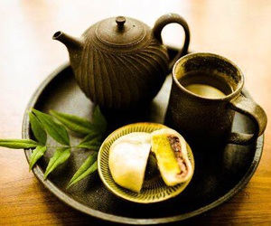 cake, cups, and green tea image