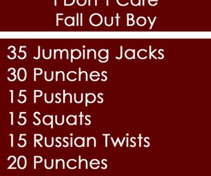fall out boy, i don't care fall out boy, and one song work out image
