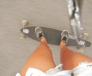 girl, longboard, and shorts image