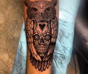 tattoo, owl, and skull image