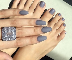 nails, grey, and diamond image