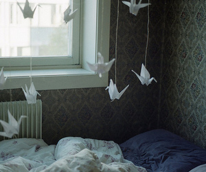 bird, origami, and bed image