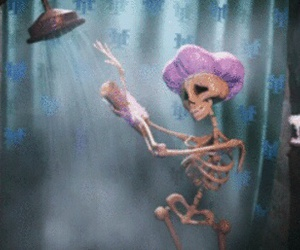 skeleton, funny, and shower image