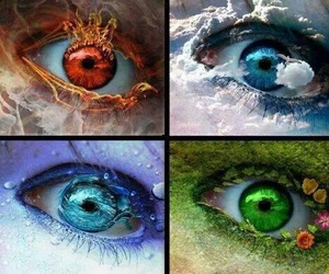 eyes, fire, and water image