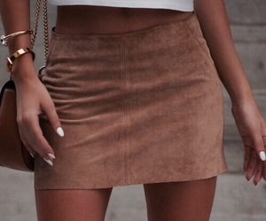 dress, camel skirt, and white top image