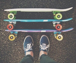 shoes, penny boards, and skate boards image
